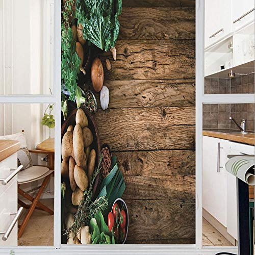 (Decorative Window Film,No Glue Frosted Privacy Film,Stained Glass Door Film,Vegetables on Wooden Table Healthy Options Organic Food Herbs and Spices Seasonal,for Home & Office,23.6In. by 78.7In)
