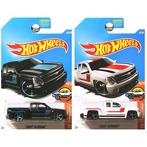 Hot Wheels 2017 Hot Trucks Chevrolet Chevy Silverado Pickup Truck in Black and White SET OF 2