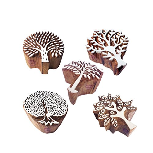 Jaipuri Shapes Flower and Tree Wood Block Print Stamps (Set of 5) by Royal Kraft