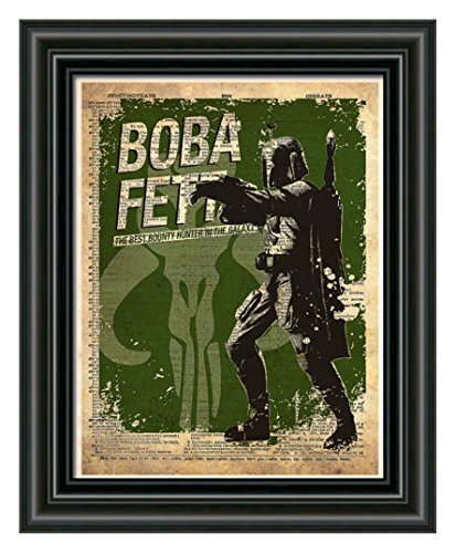 Boba Fett star wars art, splatter art print, dictionary page print