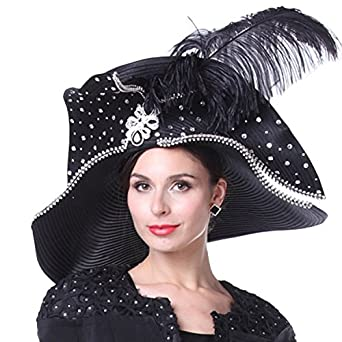Kueeni Women Church Hats Couture Hats For Special Occasion Special Hats  Black at Amazon Women s Clothing store  afe1fce5e8e