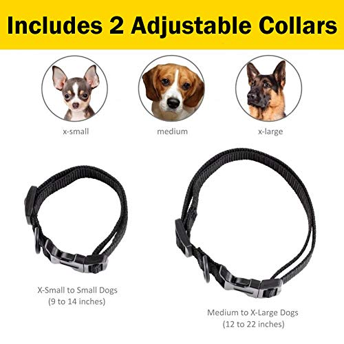 eXuby Shock Collar for Small Dogs with Remote - Includes 2 Collars - Small & Medium and Training Clicker - 3 Modes (Sound, Vibration & Shock) with Rechargeable Batteries