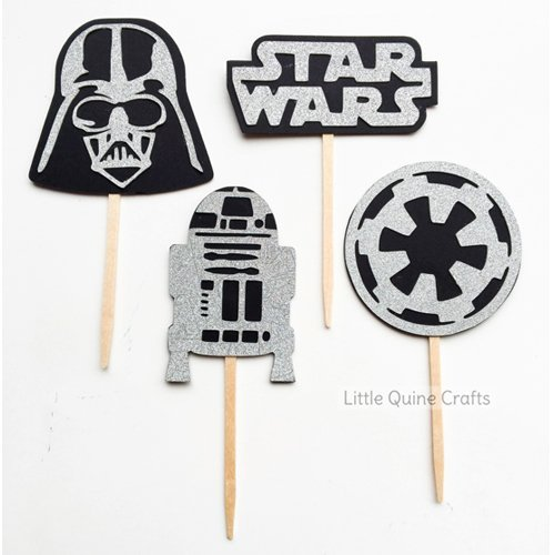 12 pcs Star Wars Inspired Theme Darth Vader R2D2 birthday party theme silver Glitter cupcake topper]()