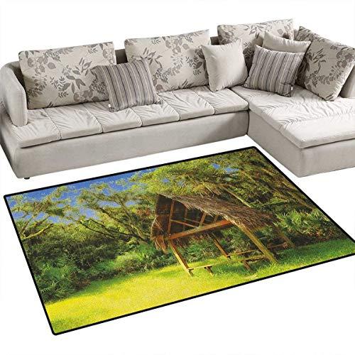 Tiki Bar,Rug,Tiki Hut in Dreamy Fantasy Forest Tropical Island Wildlife Greenery Art,Area Carpet,Green Blue Brown -