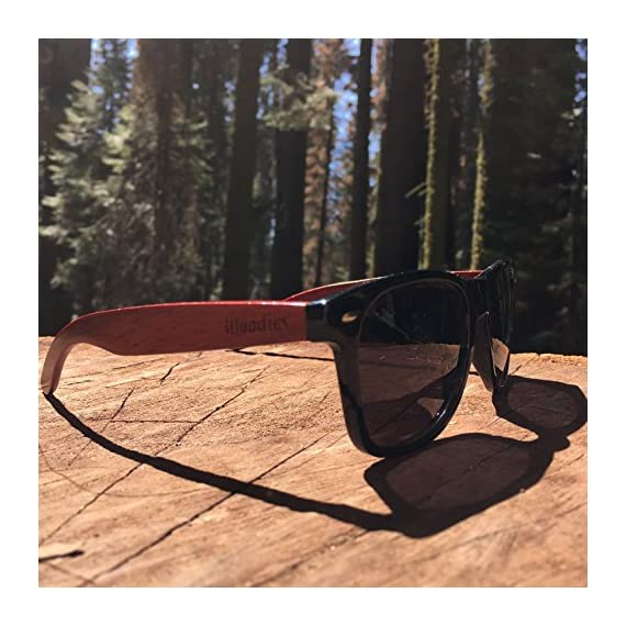 Woodies Rose Wood Sunglasses with Polarized Lenses 8 BONUS ITEMS: FREE Carrying Case, Lens Cloth, and Wood Guitar Pick BUY WITH CONFIDENCE: 30-Day Money Back Guarantee