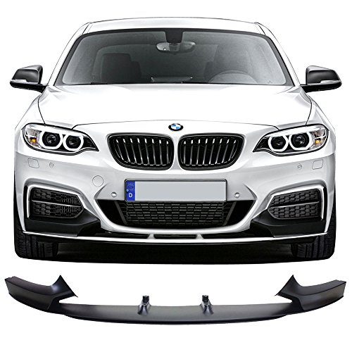 Front Bumper Lip Fits 2014-2018 BMW F22 2 Series | P Style Unpainted Black PP Front Lip Finisher Under Chin Spoiler Add On by IKON MOTORSPORTS | 2015 2016 ()