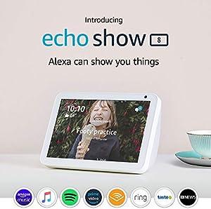 "Introducing Echo Show 8 - HD 8"" smart display with Alexa - Sandstone Fabric"