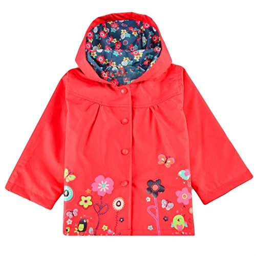 ens Waterproof Reflective Trench Coat Softshell Lined Raincoat Hood Windbreaker(Red XXL) ()