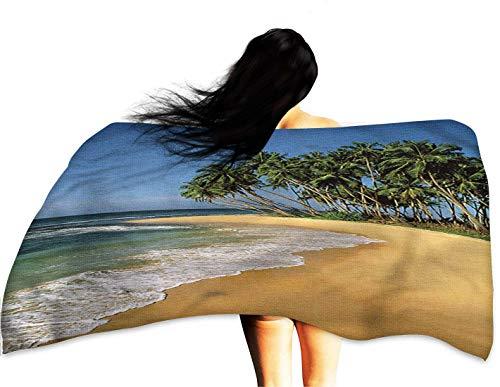 DerDecor White Bath Towels Beach,Tropic Beach with Palm Trees 51