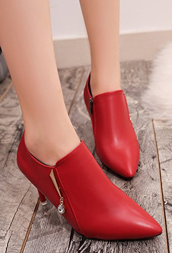 Aiguille Cheville Bottines Femme Aisun Sexy Rouge Strass Talon Pointues tWdqaOwaY