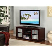 Kings Brand E4818 Wood Plasma TV Stand Entertainment Center with Storage, Cherry Finish