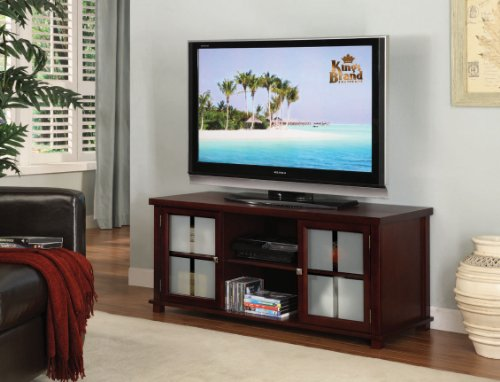 King's Brand E4818 Wood Plasma TV Stand Entertainment Center with Storage, Cherry Finish Cherry Plasma Tv Stand