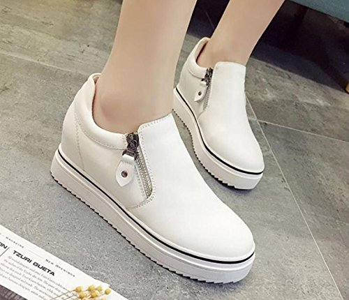 New plate leather toe heel of round flat milky layer casual shoes solid color white zipper rFrIqdw