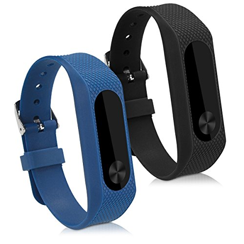 kwmobile Silicone Watch Strap Compatible with Xiaomi Mi Band 2-2X Fitness Tracker Replacement Band Wristband Set with Clasp