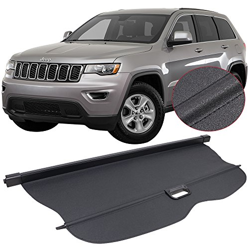 Cargo Cover Fits 2011-2017 Jeep Grand Cherokee | Black PU Tonneau Cover Retractable By IKON MOTORSPORTS | 2012 2013 2014 2015 2016