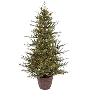 """Vickerman 21589 - 6' x 46"""" Nevis Pine Potted 300 Clear Lights with Cones and Berries Christmas Tree (A110661)"""