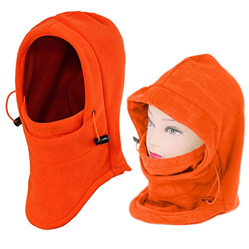 Nova Helmet Liner - 2 Pack Outdoor Balaclava Full Face Mask Women's Fleece Balaclava Hooded Face Mask Neck Warmer Ski Hood Snowboard Mask Wind Protector,Orange