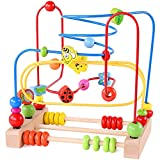 Bead Maze Toy for Toddlers Wooden Colorful Roller Coaster Educational Circle Toys for Kids Sliding Beads On Twists Wire Training Child Attention Count and Grasping Ability (QZM-0423-TOY)