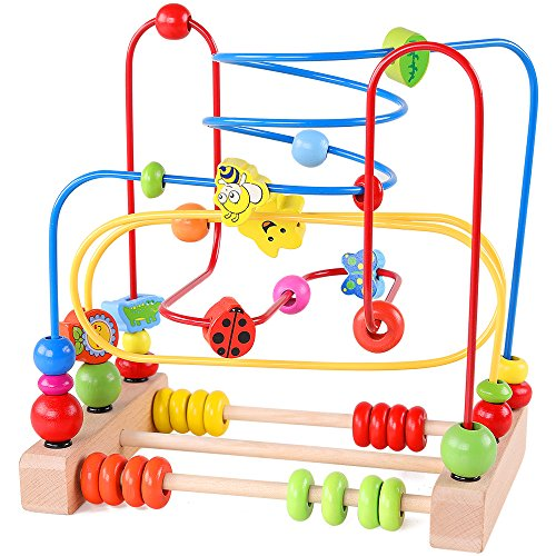 Bead Maze Toy for Toddlers Wooden Colorful Roller Coaster Educational Circle Toys for Kids Sliding Beads On Twists Wire Training Child Attention Count and Grasping Ability ()
