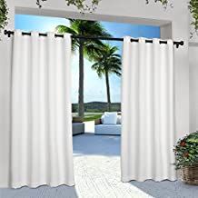 Exclusive Home Curtains Indoor/Outdoor Solid Cabana Grommet Top Window Curtain Panel Pair, Winter White, 84x54