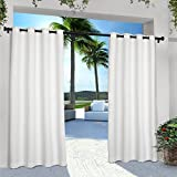 white outdoor curtains - Exclusive Home Curtains Indoor/Outdoor Solid Cabana Grommet Top Window Curtain Panel Pair, Winter White, 54x84
