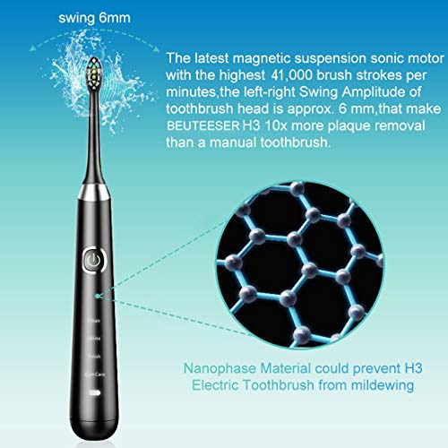 Electric Toothbrush, Dentist Recommend Sonic Rechargeable Electric Toothbrush with 4 Optional Modes 2 Min Smart Timer One Charge Minimum 30 Days Use IPX7 Waterproof 2 Replacement Heads by BEUTEESER by BEUTEESER (Image #2)