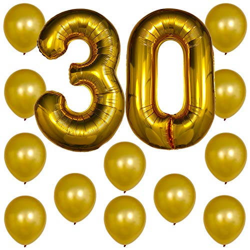Gold Number Balloons - Foil Mylar Party Decorations Decor & 12PC Helium Latex Balloon Ballons w/Ribbons Kit Set Supplies for Thirtieth 30th Happy Birthday Anniversary (Numbers 30 - Dirty -