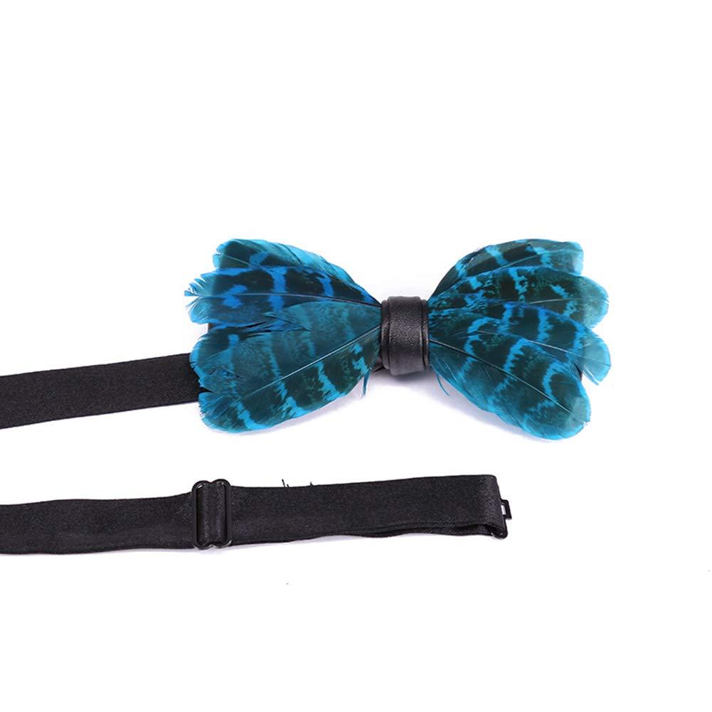Yellow yanbirdfx Fashion Men Feather Faux Leather Bow Tie Adjustable Wedding Party Formal Necktie