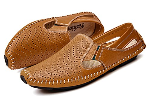 45 Summer Plus 47 46 Leather Men Shoes on Casual Sandals Fashion Size Brown Slip UqZTwX6
