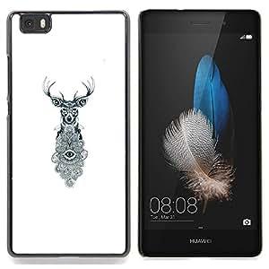 /Skull Market/ - Deer Antlers Eyes White Eye Meaning For HUAWEI P8 Lite - Mano cubierta de la caja pintada de encargo de lujo -