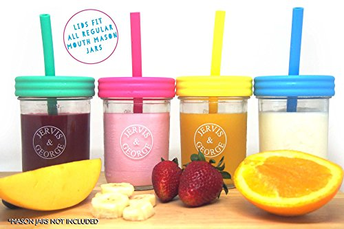 Regular Mouth Mason Jars Straw Lids + Silicone Straws + Cleaning Brush, Plastic Lids with Straw Hole, Great for Toddler, Kids & Adult Drinks, Reusable, No Rust, BPA Free, 4 Pack by Jervis & George (Image #2)