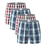 """VRLEGEND 34-50"""" Waist Men's Boxers Brief 4-Pack Regular & Big and Tall Cotton Tartan Underwear (42-44'' Waist)"""