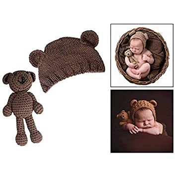 563ee4a5407 OFKPO Newborn Photography Prop Cute Knitted Bear Hat  Amazon.co.uk ...