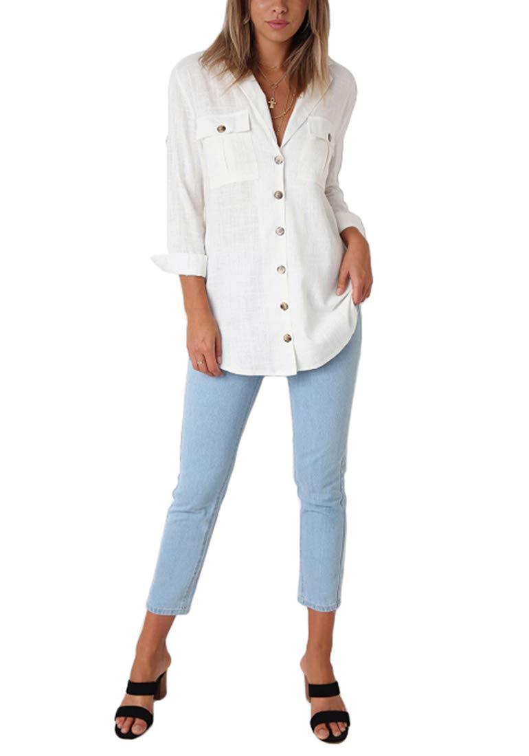 Roskiky dam blus ledig Button-Down långärmad tröja med manschett ärm V-ringad Vit