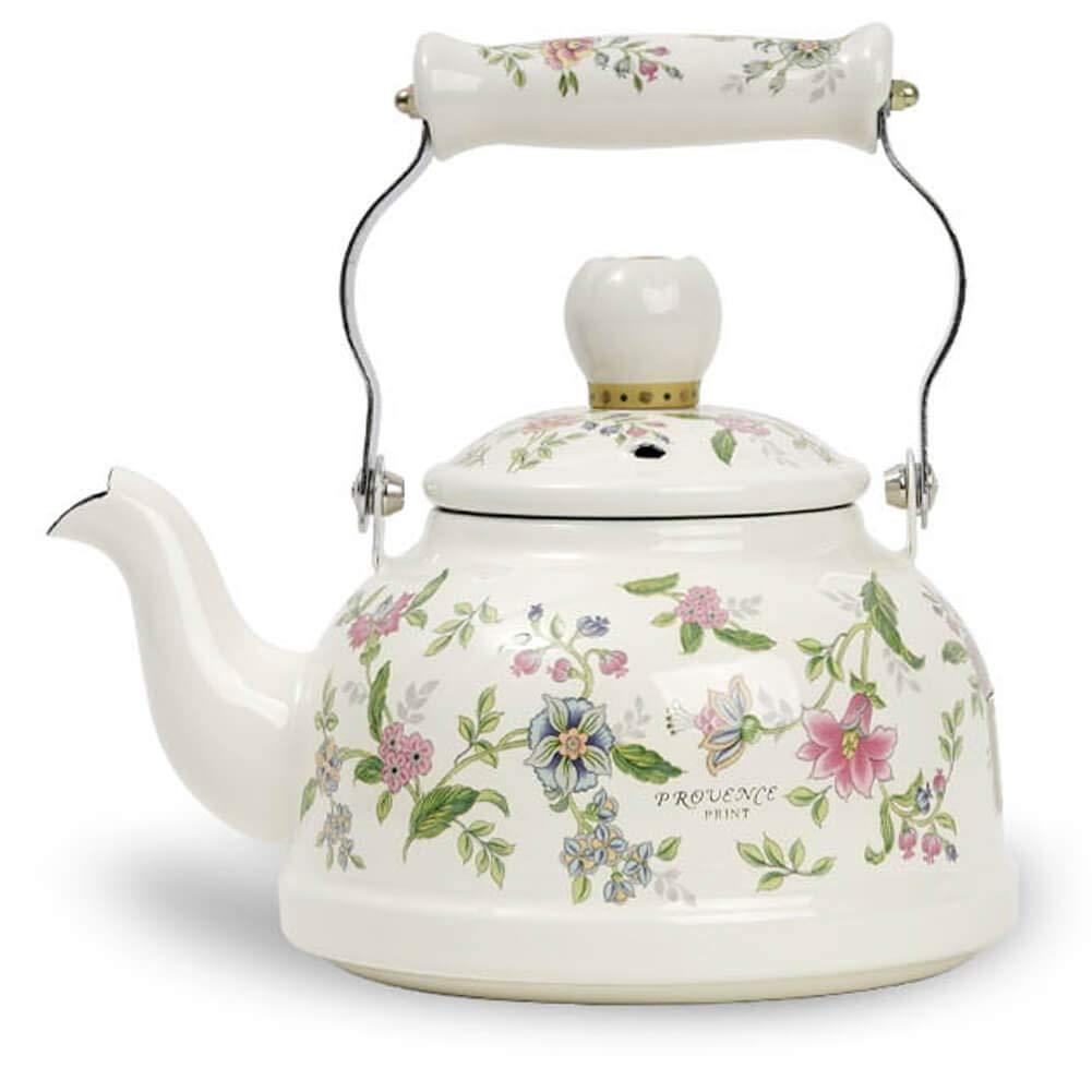 Ejiry Porvence Enamel on Steel Floral TeaKettle, Stovetop Teapot, Induction Safe, Small, 1.6 Quart, White
