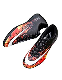 TieBao Football Boots Turf Cleats Indoor Soccer Shoes Comfortable Lightweight Red/Black 32727-hot-3US/35