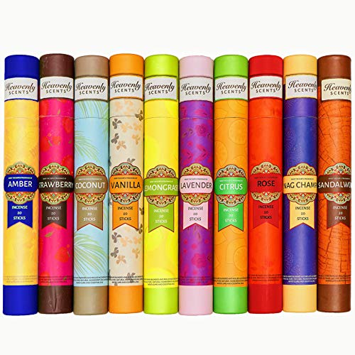Heavenly Scents Incense Variety Pack - Lovely Smells for Relaxation, Yoga and Home - Calming Aroma for Bath and Bedroom - 10 Tubes of 20 Sticks - All-Occasion Gift