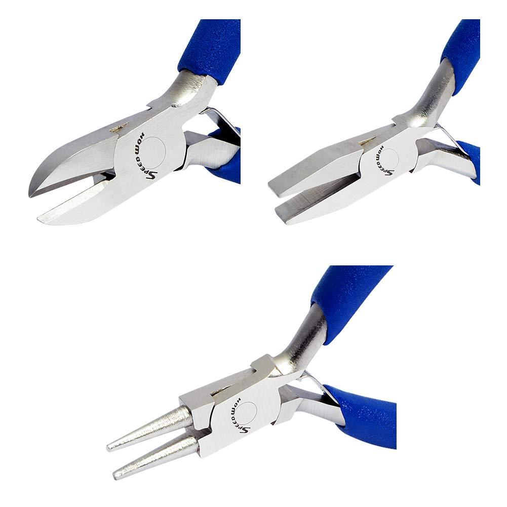 3 piezas alicates de punta plana diagonales alicates de punta redonda herramientas profesionales de mano kit de manualidades de micro SPEEDWOX Juego de alicates peque/ños para reparaci/ón de joyas