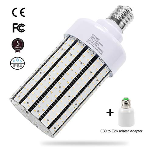 100W LED Corn cob Light Bulb, Large Mogul Base E39 LED Bulbs,5000K Daylight AC110-277V,LED Replacement 400W Metal Halide HID HPS for Steet Area Garage Factory Warehouse Workshop Parking lot High Bay (Led Parking Garage Light)