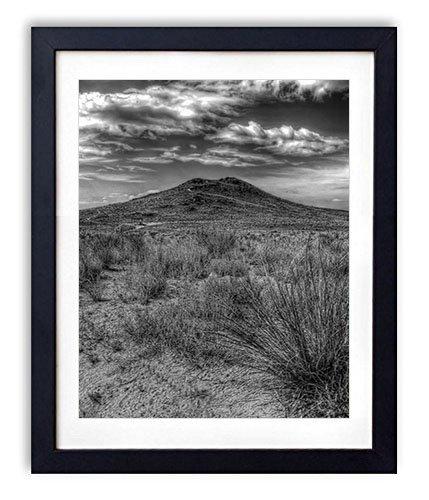 (SHADENOV Black Wood Framed Wall Art - Desert Vegetation Scanty Volcano Dormant - Art Print Pictures For Wall Decoration 12x16 Inches Black and White)