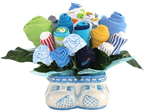 Baby Boy Bouquet Made Out Of Baby Clothes And Accessories, Baby Planter / Baby Shower Decoration And Centerpiece / Unique Gift