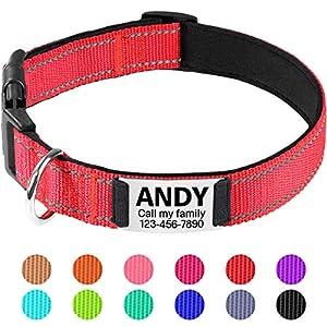TagME Collar de Perro Reflectante Personalizado,Placa de Acero Inoxidable,Grabado con Nombre y Número de Teléfono…