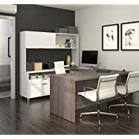 BESTAR Pro-Linea U-Desk with Hutch, White/Bark Grey