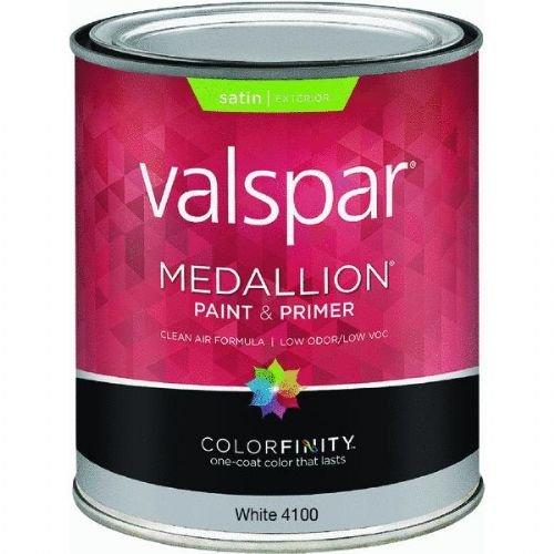 (Medallion 27-4100 QT 1 Quart Satin White Medallion Exterior Latex House Paint)