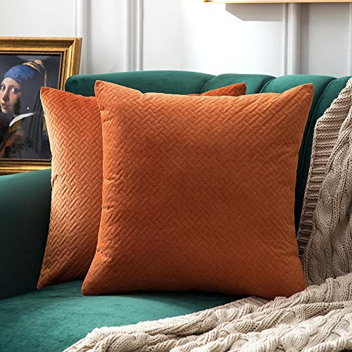 MIULEE Pack of 2 Decorative Velvet Throw Pillow Covers Soft Pattern Soild Orange Pillow Cases Luxury Euro Sham Cushion Covers for Sofa Couch Bed 18x18 Inch (Euro Orange Sham)