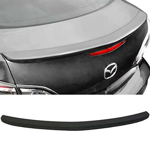 Trunk Spoiler Fits 2010-2013 Mazda 3 | OE Style Primer Matte Black ABS Car Exterior Trunk Spoiler Rear Wing Tail Roof Top Lid by IKON MOTORSPORTS | 2011 2012