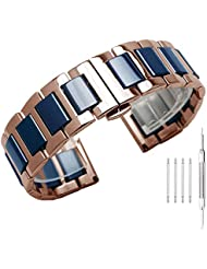 Distinctive Two Tone Blue Ceramic & Rose Gold Stainless Steel Watch Strap - 20mm Watch Band Bracelet for Girls Boys - Replacement Band with Butterfly Clasp