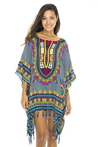 Back From Bali Womens Swimsuit Beach Cover up Caftan Short Poncho Ethnic Grey ()