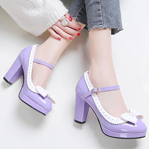 YE Women's Classic Platform Block Heel Ankle Strap Patent Leather Court Shoes with Bow Purple PVgIEg