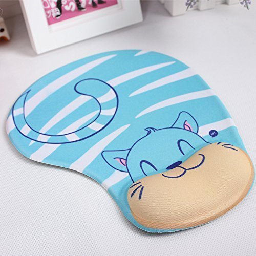Onwon High Quality Cartoon Wrist protected Personalized Computer Decoration Gel Wrist Rest Mouse Pad Ergonomic Design Memory Foam Mouse Pad Gel Mouse Pad/Wrist Rest(Blue Cat Style)